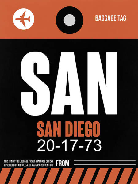 San Diego Digital Art - San Diego Airport Poster 3 by Naxart Studio