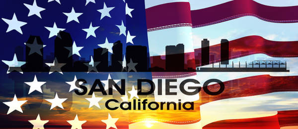 Mixed Media - San Diego Ca Patriotic Large Cityscape by Angelina Tamez