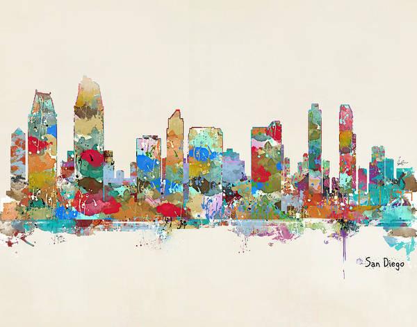 Wall Art - Painting - San Diego California Skyline by Bri Buckley