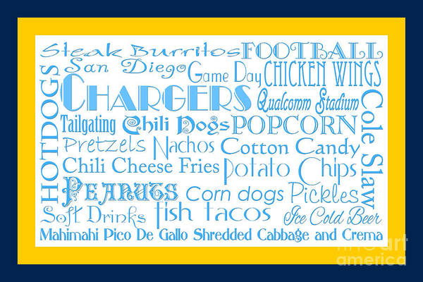 Digital Art - San Diego Chargers Game Day Food 2 by Andee Design