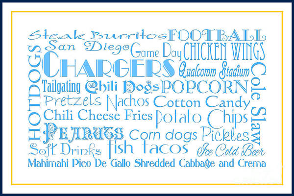 Photograph - San Diego Chargers Game Day Food 3 by Andee Design