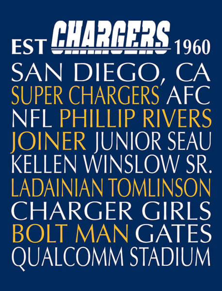 Gamer Digital Art - San Diego Chargers by Jaime Friedman