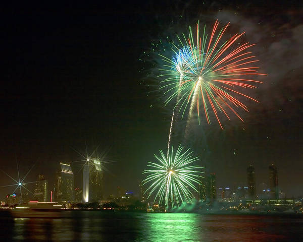 Photograph - San Diego Cityscape Fireworks by Gigi Ebert