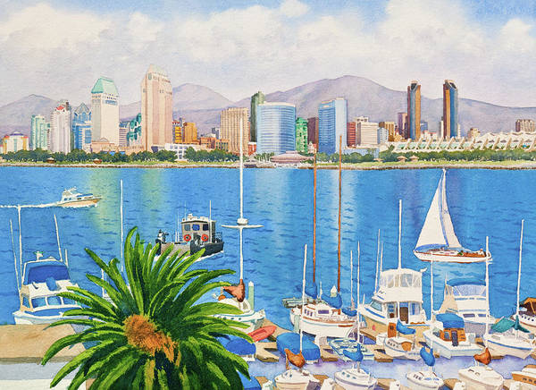 Yacht Wall Art - Painting - San Diego Skyline by Mary Helmreich