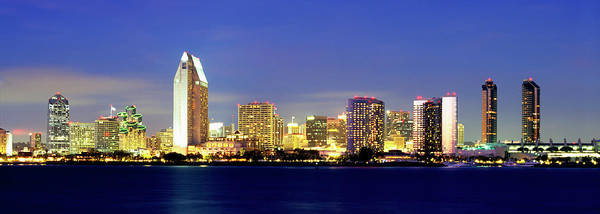 Mission Bay Photograph - San Diego Skyline At Dusk, Viewed by John Alves