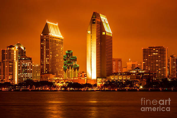 Condos Photograph - San Diego Skyline At Night Along San Diego Bay by Paul Velgos