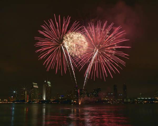 Photograph - San Diego Skyline Fireworks by Gigi Ebert