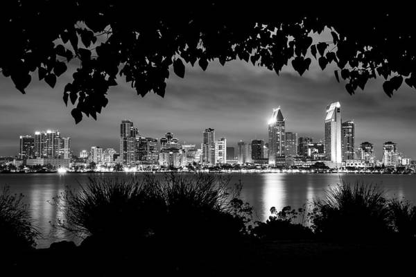 Photograph - San Diego Skyline Framed 2 Black And White by Lee Kirchhevel