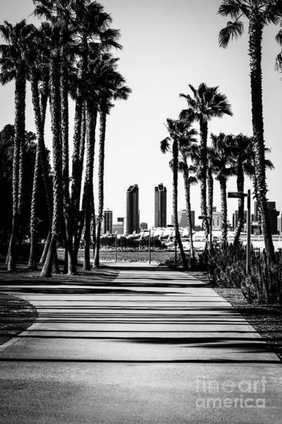 2012 Photograph - San Diego Skyline From Coronado Island In Black And White by Paul Velgos