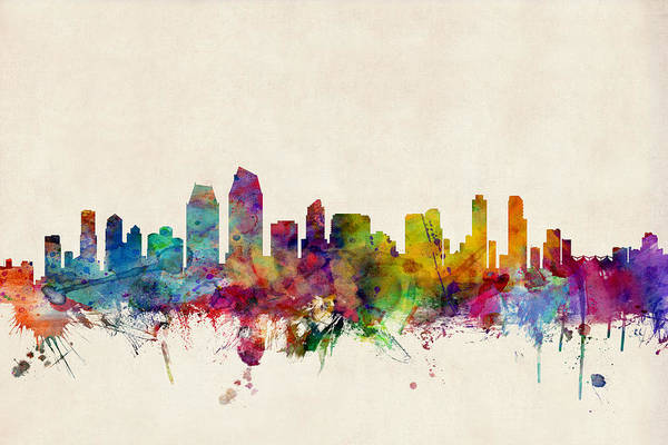 Watercolours Wall Art - Digital Art - San Diego Skyline by Michael Tompsett