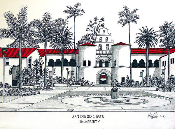Wall Art - Drawing - San Diego State by Frederic Kohli