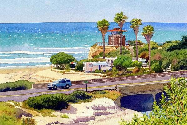 Camp Wall Art - Painting - San Elijo Campground Cardiff by Mary Helmreich