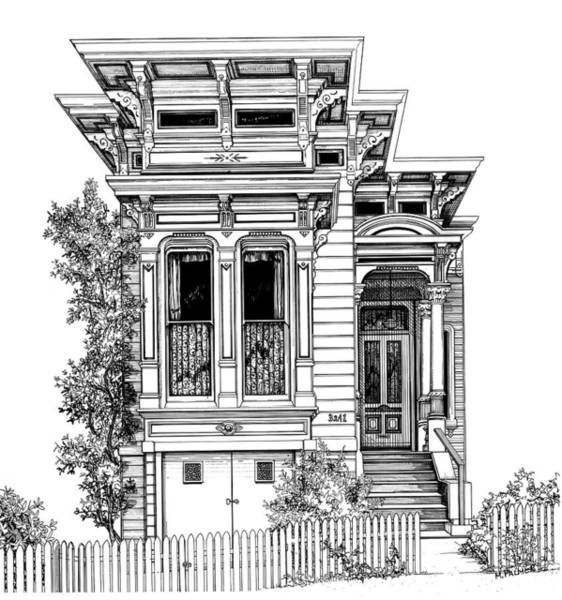 Drawing - San Fracisco Victorian2 by Mary Palmer