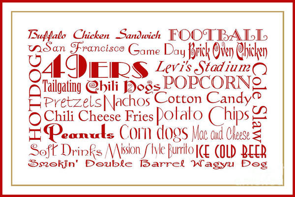 Digital Art - San Francisco 49ers Game Day Food 3 by Andee Design