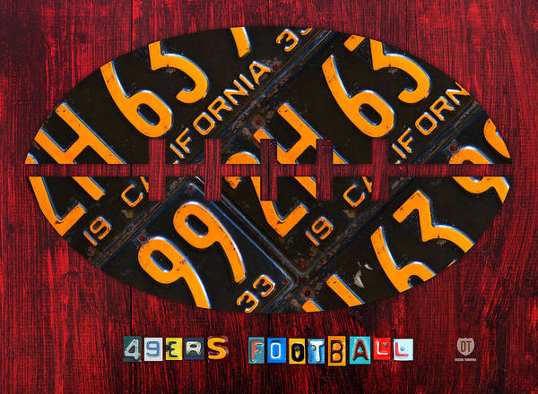 Wall Art - Mixed Media - San Francisco 49ers Nfl Football Recycled License Plate Art by Design Turnpike