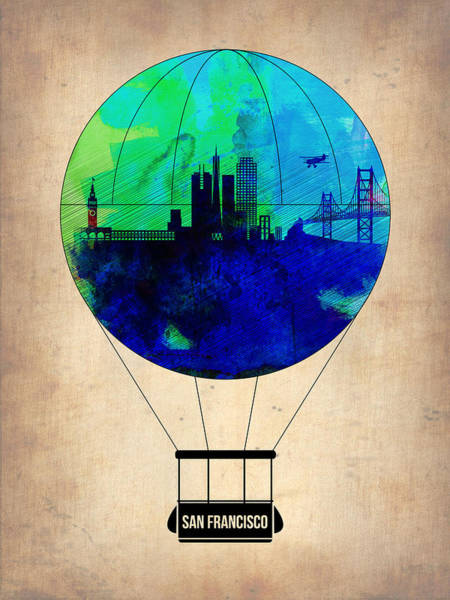 Tourist Painting - San Francisco Air Balloon by Naxart Studio