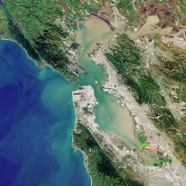 West Bay Photograph - San Francisco Bay by Jesse Allen And Robert Simmon/u.s. Geological Survey/nasa