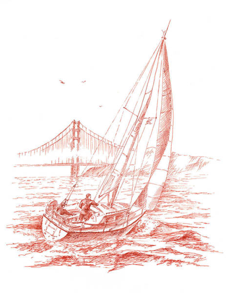 Drawing - San Francisco Bay Sailing To Golden Gate Bridge by Irina Sztukowski