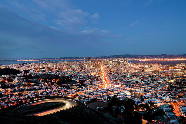 Multi Exposure Photograph - San Francisco, California At Night by Geri Lavrov