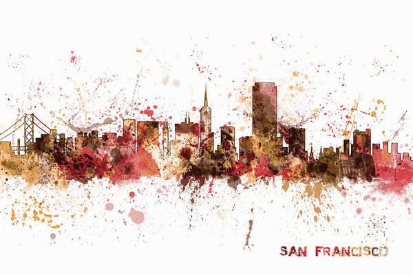 San Francisco Wall Art - Digital Art - San Francisco California City Skyline by Michael Tompsett