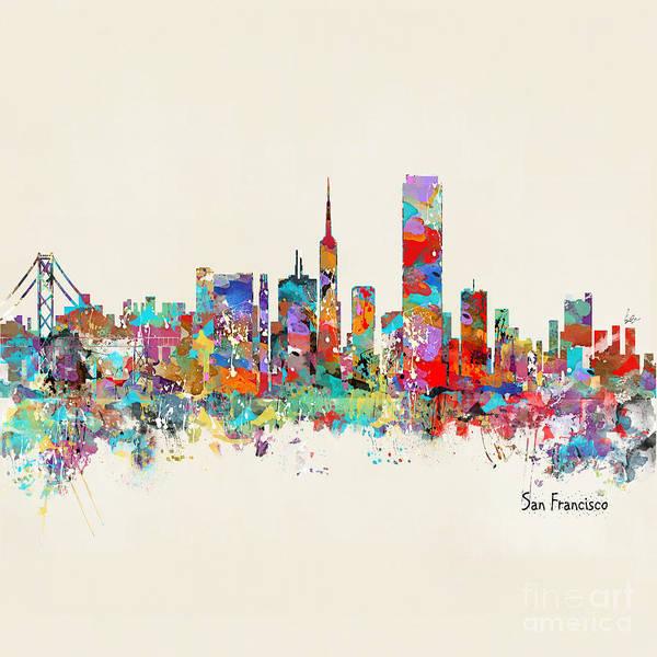 Office Decor Painting - San Francisco California Skyline by Bri Buckley