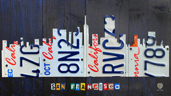 Wall Art - Mixed Media - San Francisco California Skyline License Plate Art by Design Turnpike