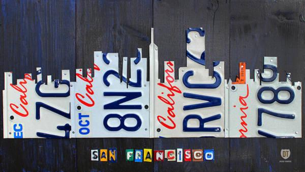 Automobile Mixed Media - San Francisco California Skyline License Plate Art by Design Turnpike