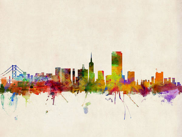 Watercolours Wall Art - Digital Art - San Francisco City Skyline by Michael Tompsett