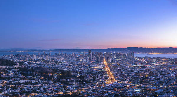 Fire Place Photograph - San Francisco Cityscape In Sunrise by Chinaface