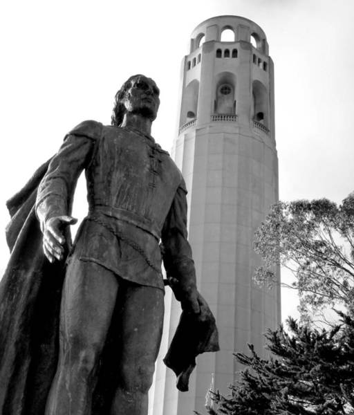 Photograph - San Francisco Coit Tower Christopher Columbus by Jeff Lowe