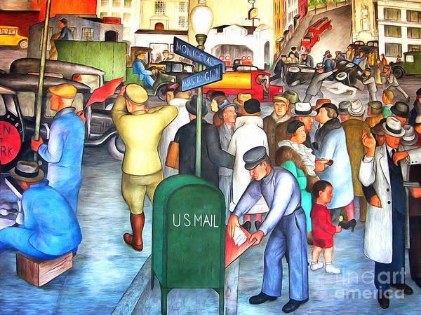 Painting - San Francisco Coit Tower Mural 20141005 V2 by Wingsdomain Art and Photography