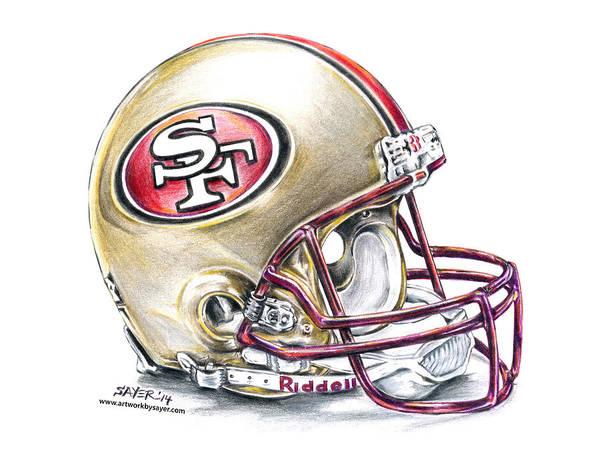 Super Bowl Drawing - San Francisco 49ers Helmet by James Sayer