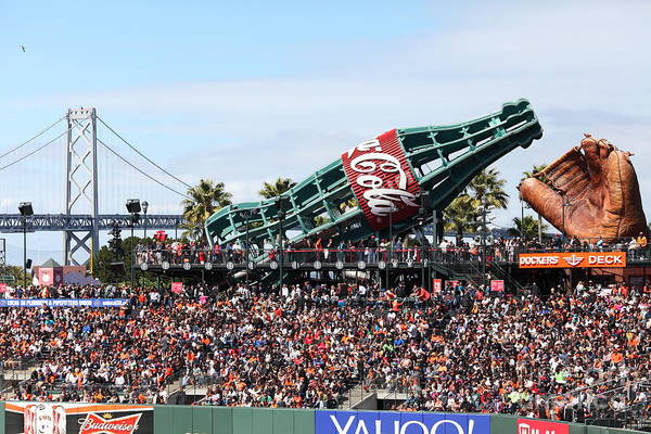 Photograph - San Francisco Giants Baseball Ballpark Fan Lot Giant Glove And Bottle 5d28246 by Wingsdomain Art and Photography