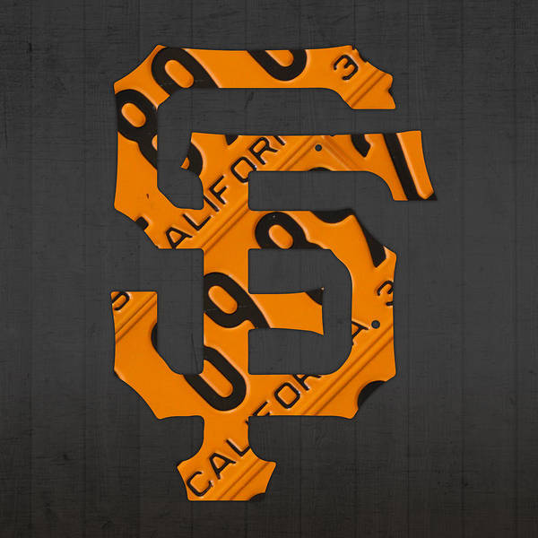 Sports Wall Art - Mixed Media - San Francisco Giants Baseball Vintage Logo License Plate Art by Design Turnpike