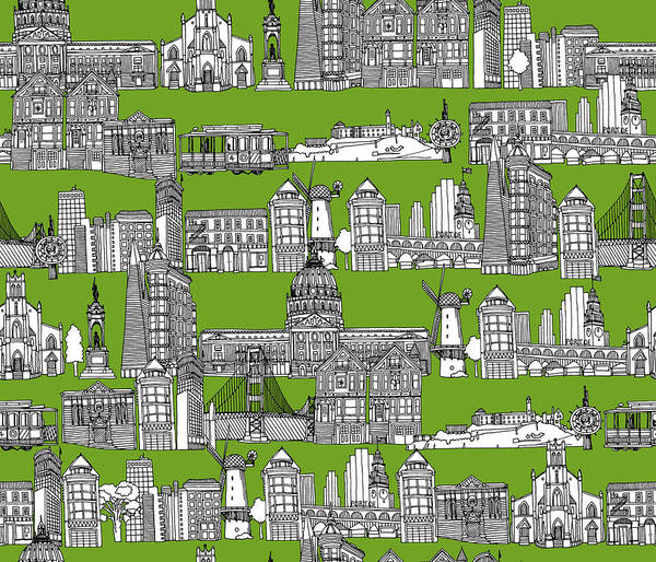 Wall Art - Drawing - San Francisco Green by MGL Meiklejohn Graphics Licensing