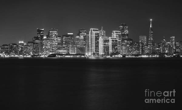 Wall Art - Photograph - San Francisco Holiday Skyline Black And White by Jennifer Ramirez