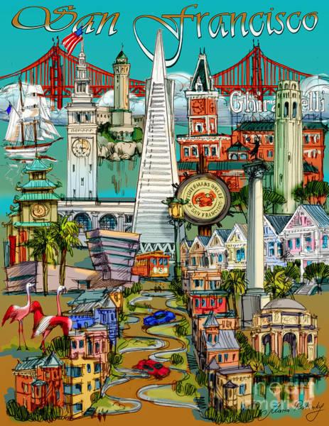 China Town Painting - San Francisco Illustration by Maria Rabinky