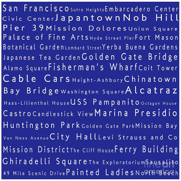 San Francisco In Words Blue Art Print