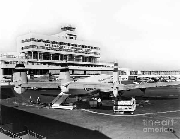 Photograph - San Francisco International Airport Passenger Terminal Circa 195 by California Views Archives Mr Pat Hathaway Archives
