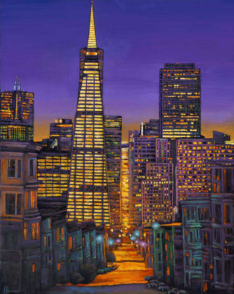 Night Wall Art - Painting - San Francisco by Johnathan Harris