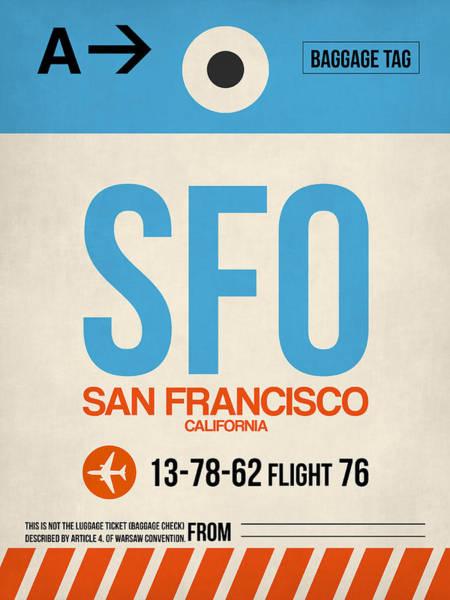 San Francisco Wall Art - Digital Art - San Francisco Luggage Tag Poster 1 by Naxart Studio