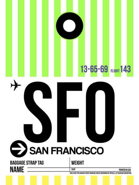 Aircraft Digital Art - San Francisco Luggage Tag Poster 2 by Naxart Studio