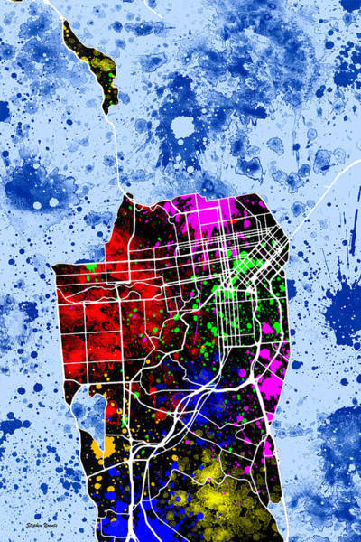 Wall Art - Digital Art - San Francisco Map by Stephen Younts