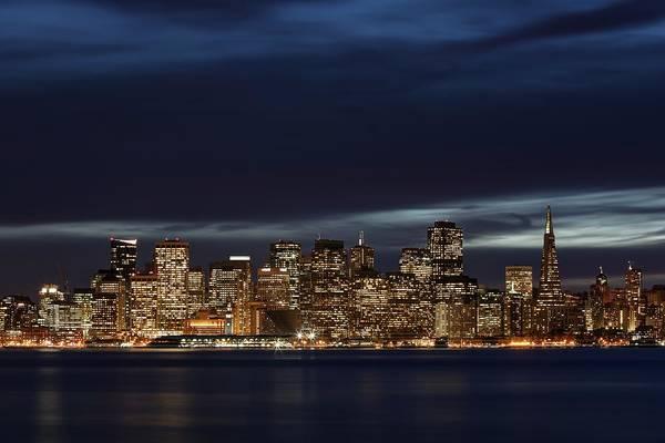 Photograph - San Francisco Night Skyline Seen From Treasure Island by John King