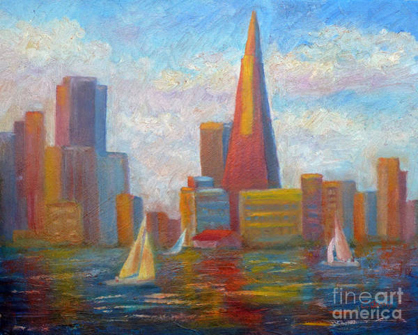 Impressionistic Sailboats Painting - San Francisco Reflections by Carolyn Jarvis