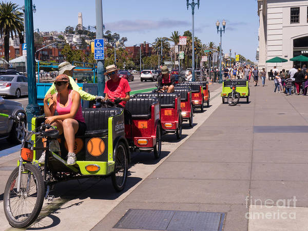 Photograph - San Francisco Rickshaw Pedicab Brigade On The Embarcadero Dsc1595 by Wingsdomain Art and Photography