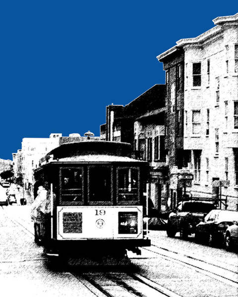 Cable Digital Art - San Francisco Skyline Cable Car 1 - Royal Blue by DB Artist