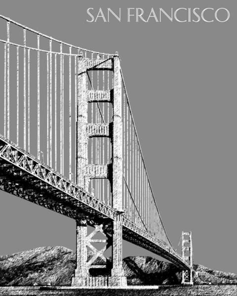 Wall Art - Digital Art - San Francisco Skyline Golden Gate Bridge 2 - Pewter by DB Artist