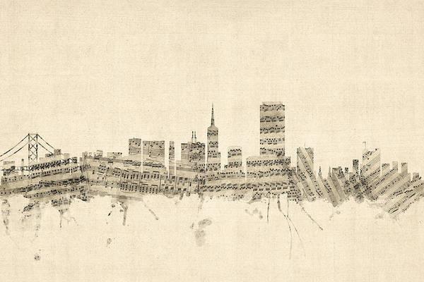 San Francisco Skyline Wall Art - Digital Art - San Francisco Skyline Sheet Music Cityscape by Michael Tompsett