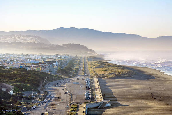 Furon Photograph - San Francisco Morning - The Great Highway Ocean Beach by Daniel Furon